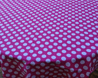 """60"""" Barbie Pink Round with White Polka Dot Tablecloth only"""