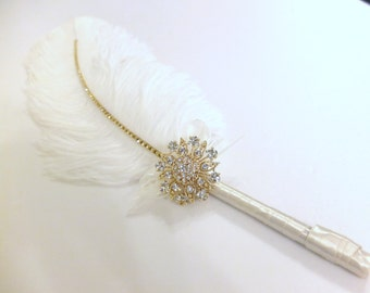 Large Elegant Ivory Feather Pen with Gold Sunflower Brooch / Wedding Signing Pen / Guest Book Pen / Wedding Reception Accessories /