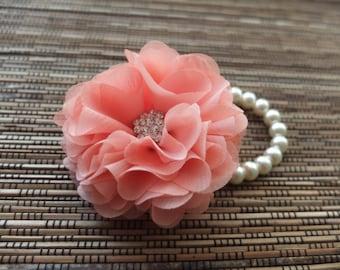 Wrist Corsage, Chiffon Flower Corsage (Coral), Coral bridal Corsage, Chiffon Rose corsage