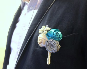 Ivory and Teal Boutonniere, Vintage Boutonniere, Vintage Ribbon Rose Corsages, Ribbon Rose Boutonniere