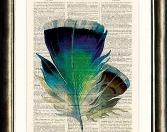 Feather Print - vintage page book print on a page from a late 1800s Upcycled Dictionary Buy 3 get 1 FREE