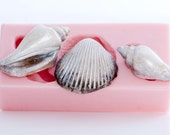 Sea shell Mold - Three shells - Cake Decorating - Candy Making - Cup Cake Toppers - Made Easy with this Food Grade Silicone Mold  (821)