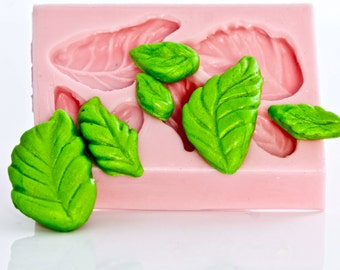 Small rose leaf mold - six leaves in one mold - fondant leaf mold - gum paste rose leaf mold - candy leaf mold - food safe leaf mold  (706)