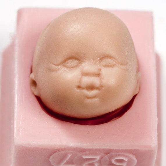 Baby face silicone mold - Fondant baby face mold - Gum paste face mold - infant face food mold - baby shower mold (527)