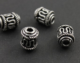 Sterling Silver Handmade Bali Cylinder Bead with Detailed Pattern, 10x16mm Accent for Beaded Jewelry,1 Piece (BA-5026)