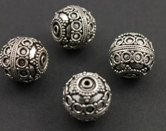 Bali Sterling Silver Bead w/ Granulation, Rope Detail, Oxidized Finish, 13mm Lovely Accent for Beaded Jewelry,  1 Piece (BA-5106)