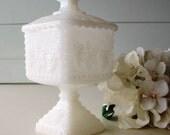Milk Glass Wedding Box, Anchor Hocking, Candy Dish, Bridesmaid Gift