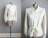 1970s Vintage Blouse Ivory Shirt Cut Out Embroidery 70s Belted Top / Small