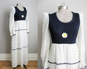 1960s Vintage Dress Daisy Polka Dot 60s Maxi Dress Long Sleeve Navy Blue White / Small