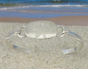 Sterling Silver Engraved Starfish Bracelet
