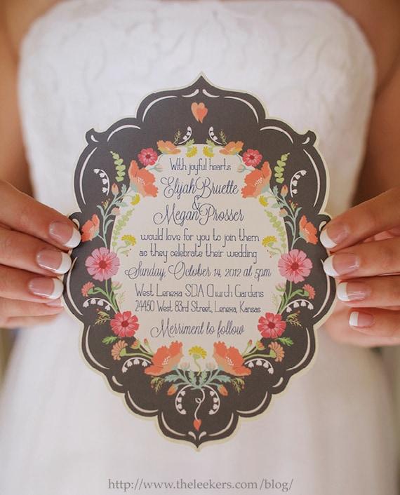 Wedding Invitations, Floral Wedding Invitations, Vintage Wedding Invitations, Signature Fragrance Wedding Invitations —Deposit