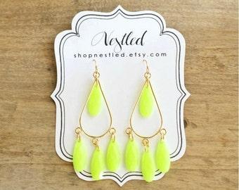 Neon Yellow Fluorescent Teardrop Chandelier Statement Earrings