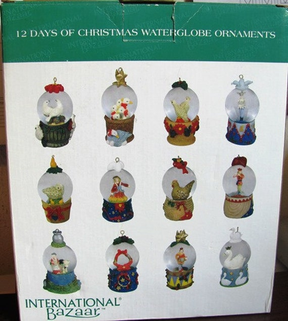 Twelve Days Of Christmas Water Globe Ornaments