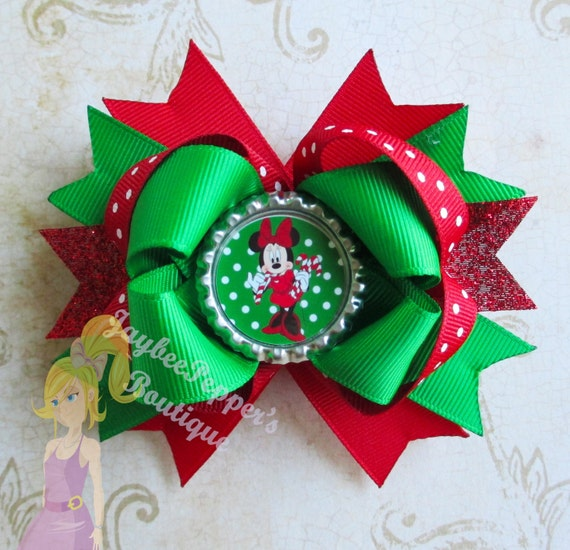 Items Similar To Minnie Mouse Christmas Hair Bows Candy