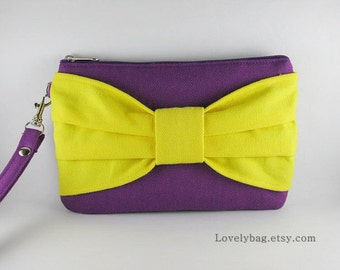 SUPER SALE - Eggplant Purple with Yellow Bow Clutch - iPhone 5 Wallet, iPhone Wristlet, Cell Phone Wristlet, Cosmetic Bag, Zipper Pouch