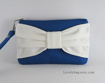 SUPER SALE - Royal Blue with Ivory Bow Clutch - Bridal Clutch, Bridal Wristlet, Bridesmaid Wristlet, Wedding Gift, Cosmetic Bag,Zipper Pouch