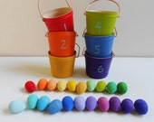 Kids montessori color sorting wood buckets of eggs color matching game