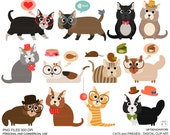 Cats and friends clip art for Personal and Commercial use - INSTANT DOWNLOAD
