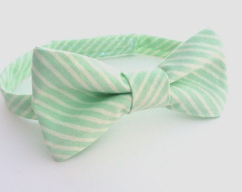 Boys Bow Tie- Mint and Creme Striped - Sizes newborn-adult