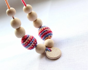 Crochet Nursing Necklace with Wooden Pendant-Wooden Teether, Breastfeeding-Teething necklace with crochet beads