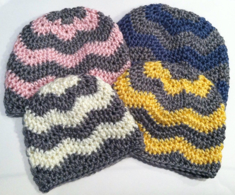 Crochet Pattern: Chevron Hat Zig Zag Hat newborn through