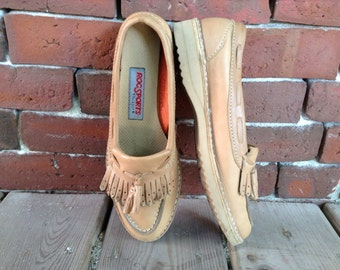 90's Moccasin Loafers sz 6 by Rockport tassel boatshoes Vibram soles