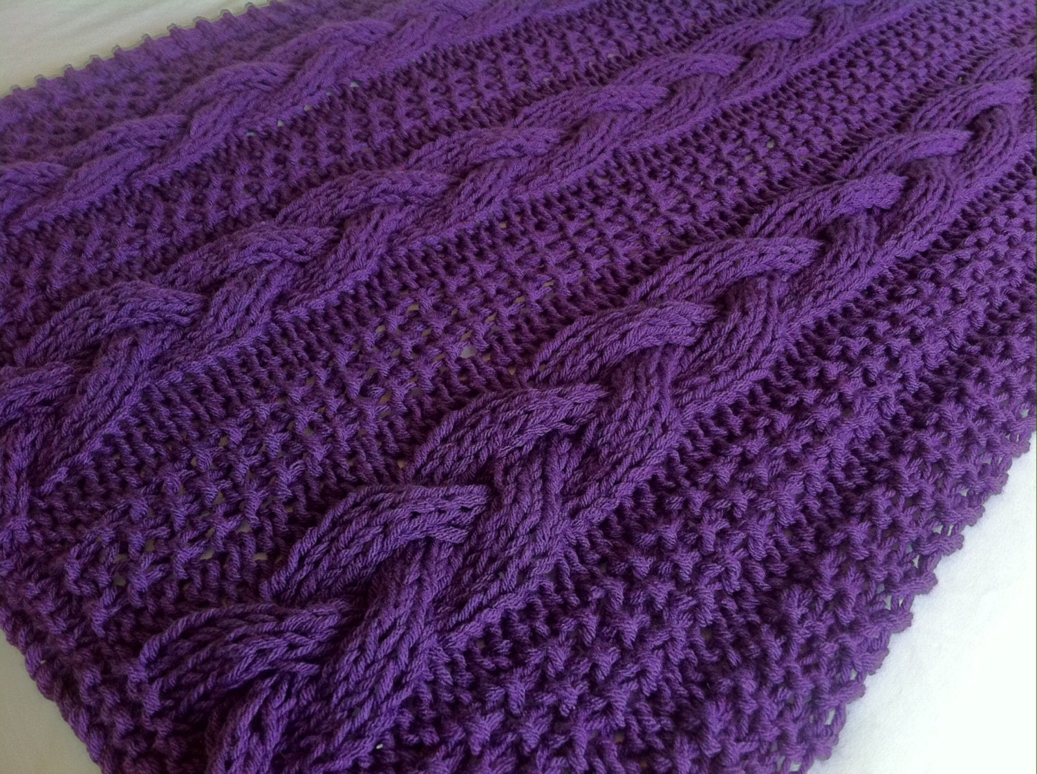 Braided Cable Chunky Blanket / Throw Knitting pattern