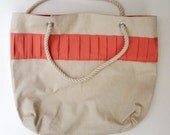 Summer Canvas Tote in Natural, Salmon Pink