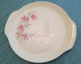 PINK BAMBOO PLATTER Mid Century Modern Hollywood Regency, Salem Pottery, Chinoiserie, Faux Bamboo at Ageless Alchemy