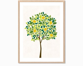 TREE | Lemon Poster : Modern Illustration Retro Art Wall Decor Print