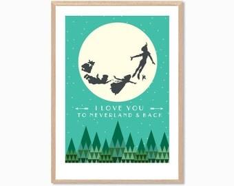 PETER PAN   I Love You To Neverland & Back Poster : Modern Illustration Disney Movie Retro Art Wall Decor Print