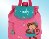 Quilted Backpack - Personalized and Embroidered - GIRLY MONKEY