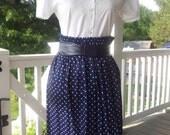 Navy Blue Polka Dot Long Full Skirt