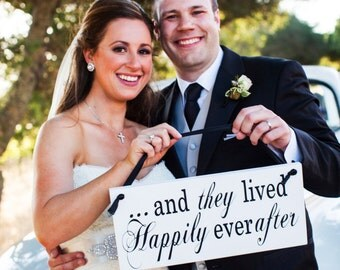 Double sided wedding sign And they lived happily ever after ring bearer sign with Here Comes the Bride