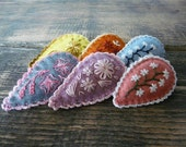 girls felt hair clip embroidered floral colorful hair accessories wool hair barrette kids hairclip