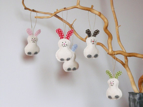 Items similar to felt easter home decorations wool bunny for Rabbit decorations home