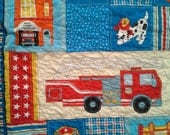 Firehouse Friends, Fire trucks, Fire Hydrants, Fire Chief Crib, Toddler, Play Mat or Lap Quilt by Mitzi Powers for Benartex in Bright Colors