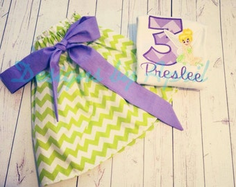 Tinkerbell Birthday Outfit - Chevron Birthday Skirt Set