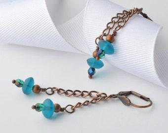Long Copper Earrings, Aqua Blue Earrings, Chain Earrings, Boho Jewelry, Bohemian Earrings, Gypsy Earrings, Dangle Earrings