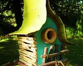 bird house, Birdhouse,  whimsical and functional Birdhouse in color options, original birdhouse, garden art, lawn ornament, color options