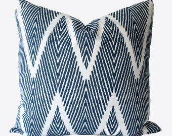 Decorative Designer Chevron Zig Zag Blue Ikat, 18x18, 20x20, 22x22 or lumbar Navy Blue Throw Pillow