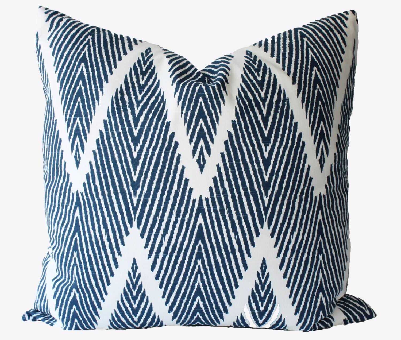 Small Navy Decorative Pillow : Decorative Designer Chevron Zig Zag Blue Ikat 18x18 20x20