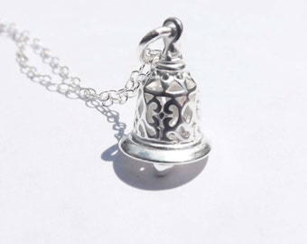 Sterling silver bell necklace - bell Pendant - birthday, wedding, graduation, bridesmaid, mother, friends,Mother's Day gifts