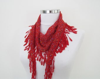 Red Lace Scarf, Spring Scarf, Summer Scarf, Mother's Day, Fall Scarf, Lace Bandana, Multiple Options Neckwear, For Her