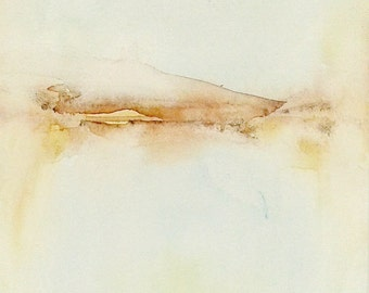 Connecting Horizon Print of watercolor painting Gallery quality giclée print on paper or canvas Abstract minimalist landscape painting Beige