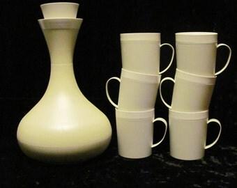 David Douglas Genie Bottle Carafe Bone White Therm Ware Cups