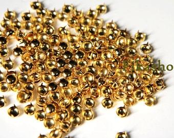 6mm 50pcs Gold round studs / HIGH Quality - Fikashop