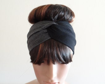Dark Grey And Black Headband.Head Wrap