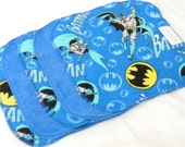 15% off Clearance! Cloth Wipes - Cotton Velour and flannel - Set of 5 or 6 - Baby Washcloths - Reusable Wet Wipe - Sale - Discount - Batman