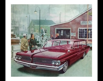 Day of Fishing.  60s Pontiac Catalina Station Wagon Red.  Awesome Illustration Ad. VK AF Post Magazine 13 x 10.  Ready for Framing.